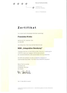 Berner Fachhochschule Zertifikat für NDK Integrative Beratung